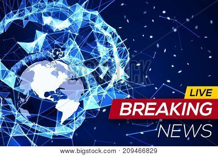 Breaking News Banner on Blue Glowing Plexus Structure Background with Earth Planet America Flares, Particles. World News on Abstract Geometric Network with American map. Technology Vector Illustration