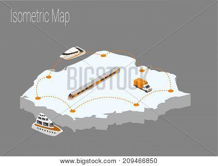 Map Poland isometric concept. 3d flat illustration of Map Poland.