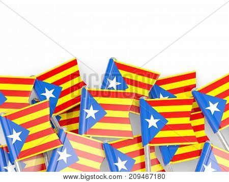 Flag Pins Of Catalonia Isolated On White