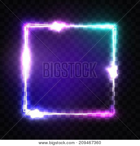 Neon sign. Night square frame with glowing and light. Electric bright 3d rectangle banner design on transparent backdrop. Neon abstract background with flares and sparkles. Vintage vector illustration