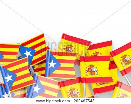 Flag Pins Of Catalonia And Spain Isolated On White
