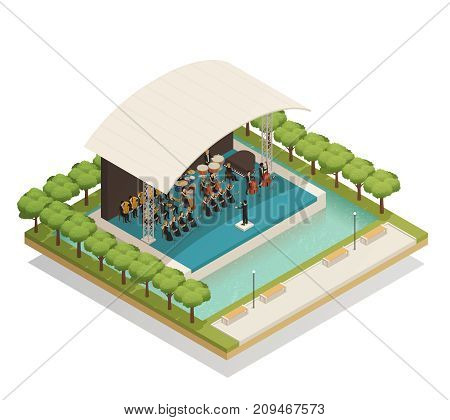 Isometric composition with big orchestra of men and women playing musical instruments on stage outdoors 3d vector illustration