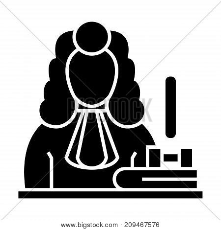 judge - gavel  icon, illustration, vector sign on isolated background