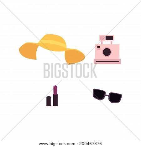 vector flat woman outfit apparel set. Yellow summer hat, sunglasses vintage instant camera, pomade. Fashionable trendy Isolated illustration on a white background.