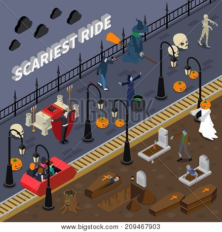 Isometric and colored monster halloween composition with attraction traveling along creepy cemetery