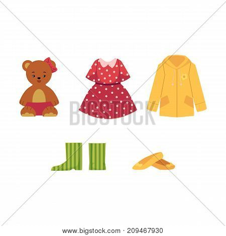 Set of little girl wardrobe - dress, shoes, rain coat, teddy bear, shoes and rubber boots, cartoon vector illustration isolated on white background. Cartoon set of little girl clothes, shoes and toys