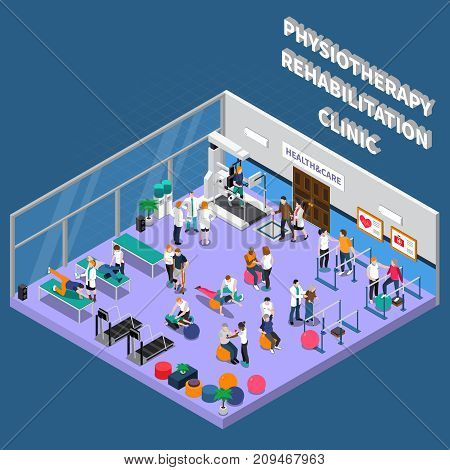 Isometric physiotherapy rehabilitation clinic interior composition with room for training and patient recovery vector illustration