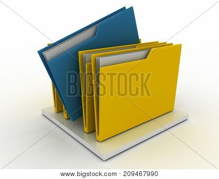 Colorful Folders Isolated Over White . 3D Rendered Illustration