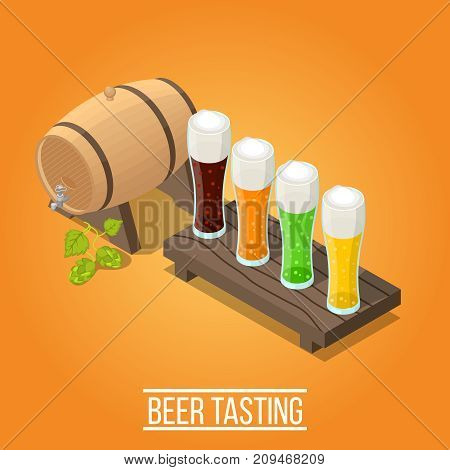 Isometric bright orange brewery background with wooden barrel and glasses full of fresh colorful beer 3d vector illustration