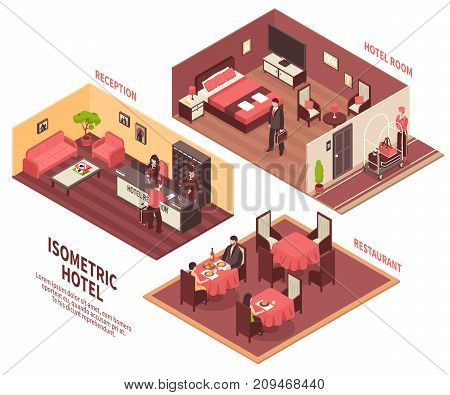 Colored isometric hotel illustration with three rooms reception hotel room and restaurant vector illustration