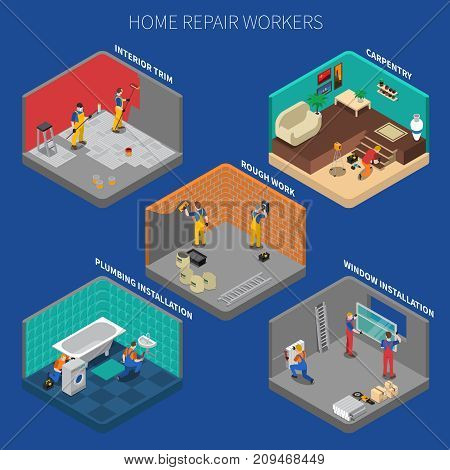 Home repair worker people composition set with five isolated elements about carpentry rough work interior trim and other descriptions vector illustration