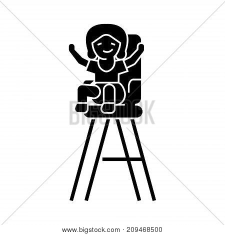 kid in the child chair icon, illustration, vector sign on isolated background