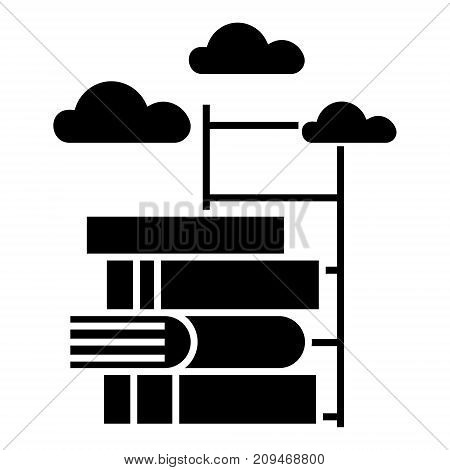 knowledge - way to - books with staircase icon, illustration, vector sign on isolated background