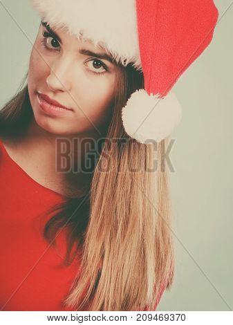 Woman Wearing Santa Claus Helper Costume