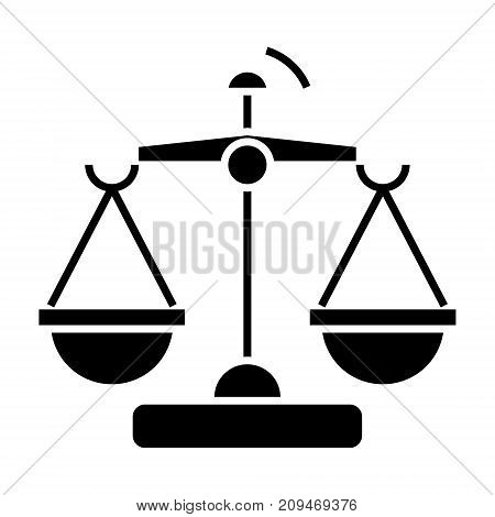 law and justice - scales icon, illustration, vector sign on isolated background