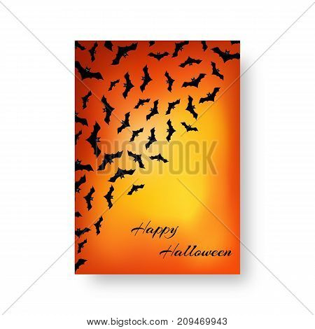 Scary invitation card template with bats for festive Halloween design on the orange backdrop. Vector illustration.