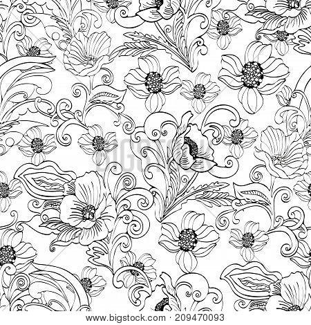 Abstract flowers seamless pattern, vector floral black and white contour background, cartoon hand-drawn, elegant monochrome ornament. Outline bud, petals, stem, leaves and curls on a white