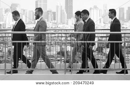Walking Business People City Background