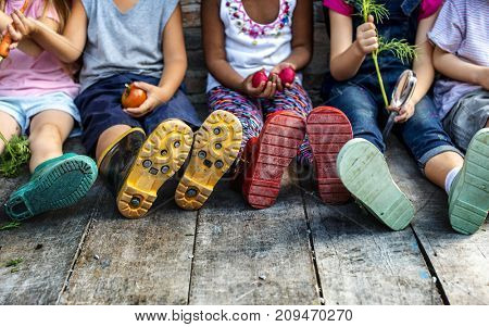Group of kindergarten kids little farmers learning gardening
