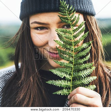 Woman Leaves Nature Environment Happiness Relaxation Concept