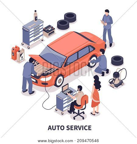 Auto service center workers fixing car and changing tyres on white background 3d isometric vector illustration