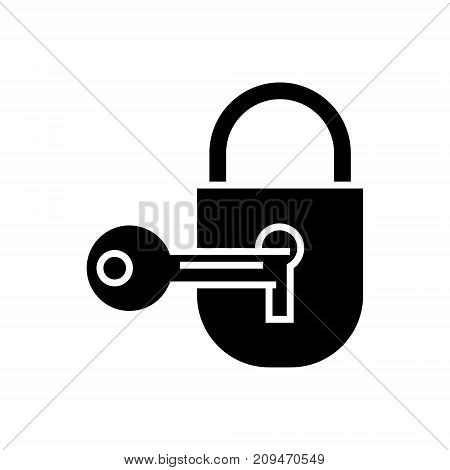 lock with key  icon, illustration, vector sign on isolated background