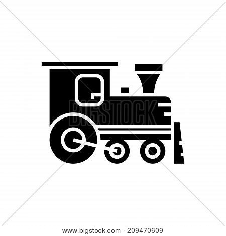 locomotive icon, illustration, vector sign on isolated background