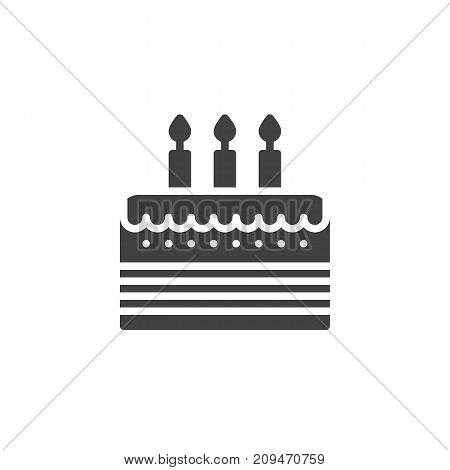 Birthday cake icon vector, filled flat sign, solid pictogram isolated on white. Event symbol, logo illustration.