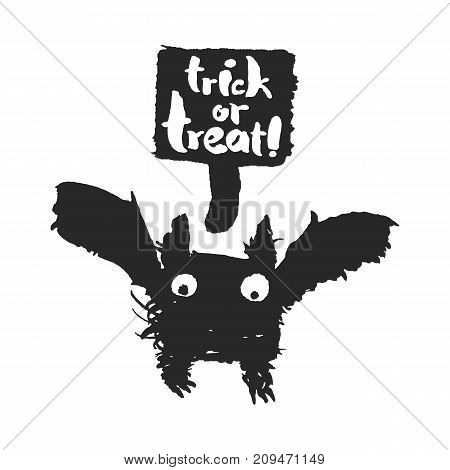 Halloween bat and speechbubble with trick or treat slogan on it. Hand drawn ink and brush illustration with calligraphy lettering. Isolated on white background. Clipping paths included.
