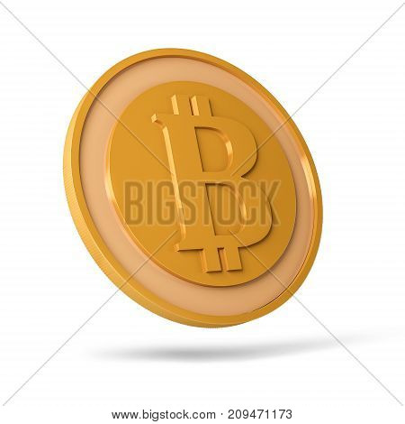Golden coin with bitcoin sign. Money and finance symbol. Illustration isolated on white background. 3D rendering.