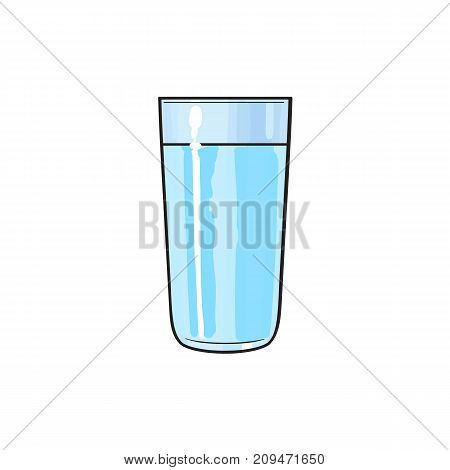Vector cartoon glass cup of fresh cold water. Isolated illustration on a white background. Soft drink, refreshing beverage image.