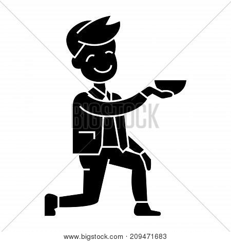 man get on one knee icon, illustration, vector sign on isolated background