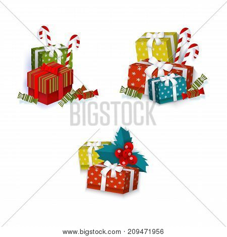 vector flat paper shopping bag with christmas tree image, square box presents with ribbon bow, mistletoe leaves and berry and christmas lollipop and candy. Isolated illustration on a white background.