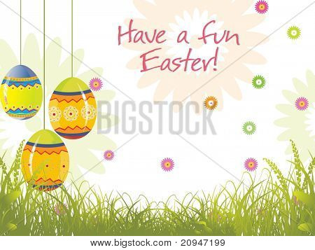 garden background with hanging egg illustration
