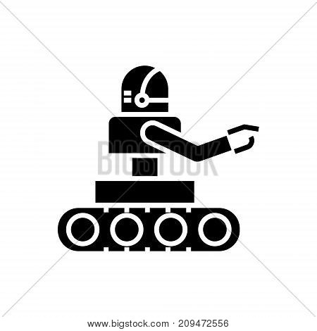 manufacturing robot icon, illustration, vector sign on isolated background
