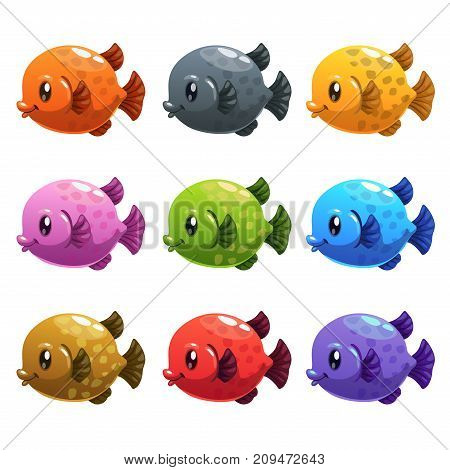 Cute cartoon colorful fishes set. Vector underwater icons for aquarium game design. Isolated on white.