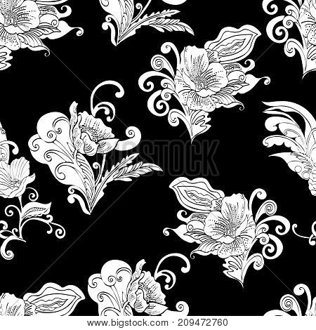 Abstract flowers seamless pattern, vector floral outline contour background, cartoon hand-drawn, elegant monochrome ornament, coloring. White bud, petals, stem, leaves and curls on a black