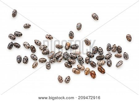 Closeup macro of small organic chia seeds isolated on a white background