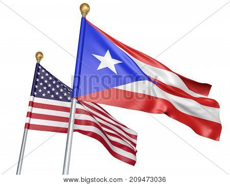 Isolated Puerto Rico and United States flags flying together for unity and support, 3D rendering