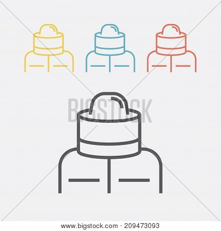 Beekeeper suit. Line icon. Vector sign for web graphics.