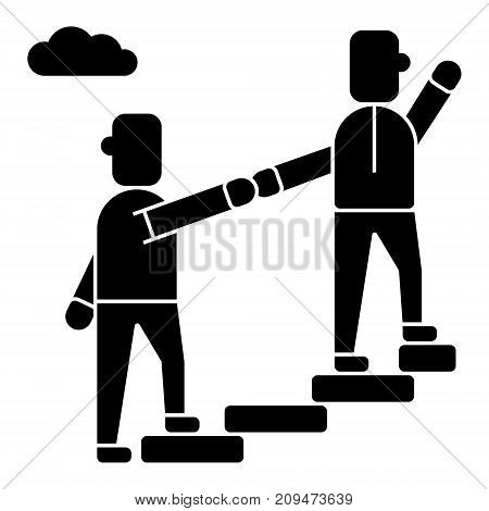 mentor - helping - mentoring - achieving goal icon, illustration, vector sign on isolated background