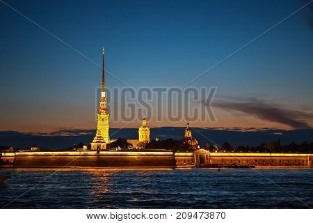 Peter and Paul Fortress in St. Petersburg, located on the Hare Island at night