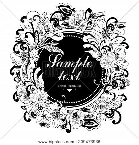Flower Round Frame, Vector Monochrome Background, Banner, Floral Border, Outline Wreath. Abstract Ve