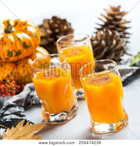 Thanksgiving Autumn Alcohol Drink Cocktail Beverage With Pumpkins And Leaves