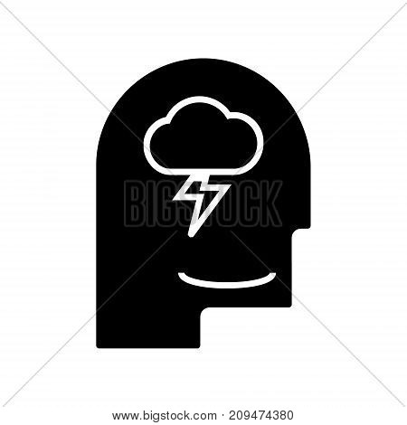 mind process - head man icon, illustration, vector sign on isolated background