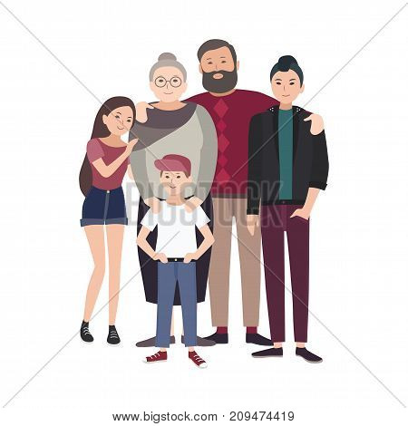 Portrait of happy family. Smiling grandfather, grandmother and their teenage grandchildren standing together isolated on white background. Funny flat cartoon characters. Colored vector illustration