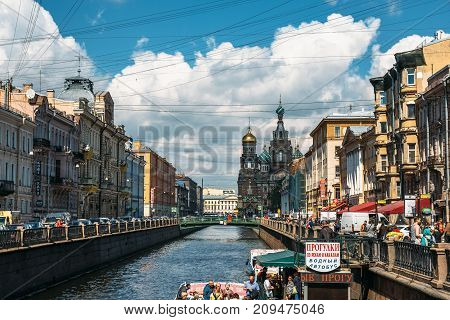 Saint Petersburg, Russia - Circa June 2017: View from river to church of the Savior on Spilled Blood in Saint Petersburg, Russia
