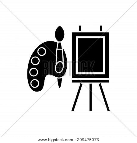 molbert and palette with brush icon, illustration, vector sign on isolated background