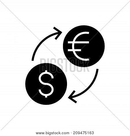 money exchange - dollar euro icon, illustration, vector sign on isolated background