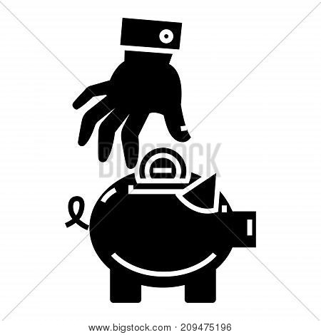 money pig - saving money - savings - piggy bank - hand put coin icon, illustration, vector sign on isolated background